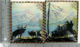 Pair Vintage Convex Glass Silhouette Pictures Alaska Scene Moose Stagecoach 050