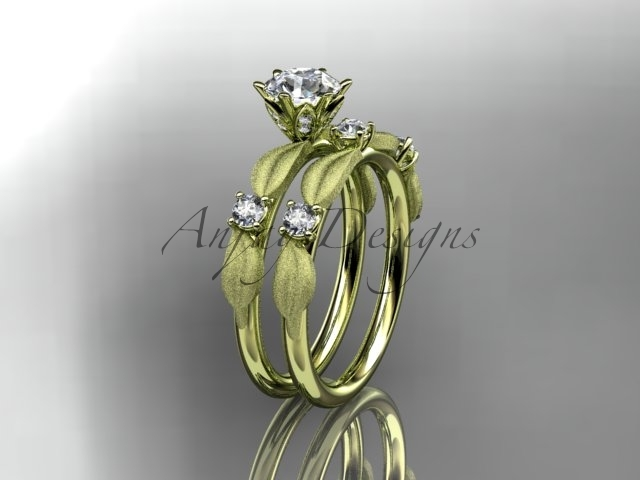 Leafring177 yellow gold  diamond wedding ring  diamond engagement ring  forever brilliant moissanite  1