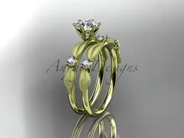 Unique nature inspired leaf bridal ring, 14k yellow gold diamond unique ... - $1,325.00