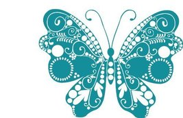 Butterfly Insect Wall Decal Sticker Mural - 24 in. Teal [Kitchen] - ₹1,435.92 INR