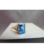 VTG 14K Yellow Gold Ring Filigree Emerald Cut B... - $247.49