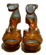 Michael Kors Leighton Ankle Strap Luggage Brown Sandal Platform  Sz 9 & 10 - $85.99+