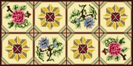 "Latch Hook Pattern Chart: READICUT #115 FLORAL SQUARES 27"" x 54""  - EMAIL2u - $6.95"