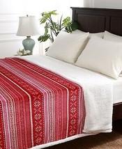 Berkshire RED/TAN Folk Snowflake Fair Isle Reversible Sherpa Blanket, King - $58.91