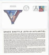 STS-81 ATLANTIS KENNEDY SPACE CENTER FLORIDA JAN 22 1997 WITH INSERT CARD - $1.78