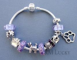 European style Charm Bracelet. Purple Lampwork Murano Glass beads. DOG L... - $21.77