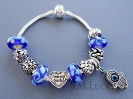 European style Charm Bracelet. Blue Murano Glass beads. Charm Hamsa S82 - $21.77