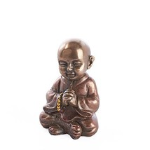 Tiny Bronze Painted Resin Monk Figurine for Gifting, Meditation, and More - $9.01