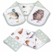 SET OF COUNTRY ANIMALS DOUBLE OVEN GLOVE & TEA TOWEL FOX BADGER OWL HARE... - $16.65