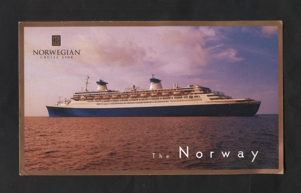 Oversized Advertising Card Norway Norwegian Cruise Lines Cruise Ships Oceanliner