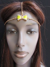 NEW WOMEN GOLD METAL HEAD CHAIN FASHION JEWELRY BIG CENTER YELLOW BOW HE... - €8,69 EUR