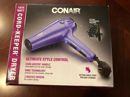 Conair 1875 Watt Ionic Ceramic Hair Dryer Model 209TG Purple with Attach... - $29.70
