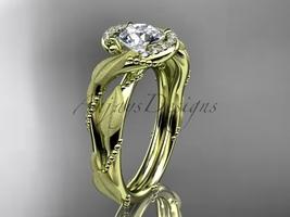 Leaf engagement ring, 14kt  yellow gold diamond leaf and vine wedding ring, enga - $1,275.00