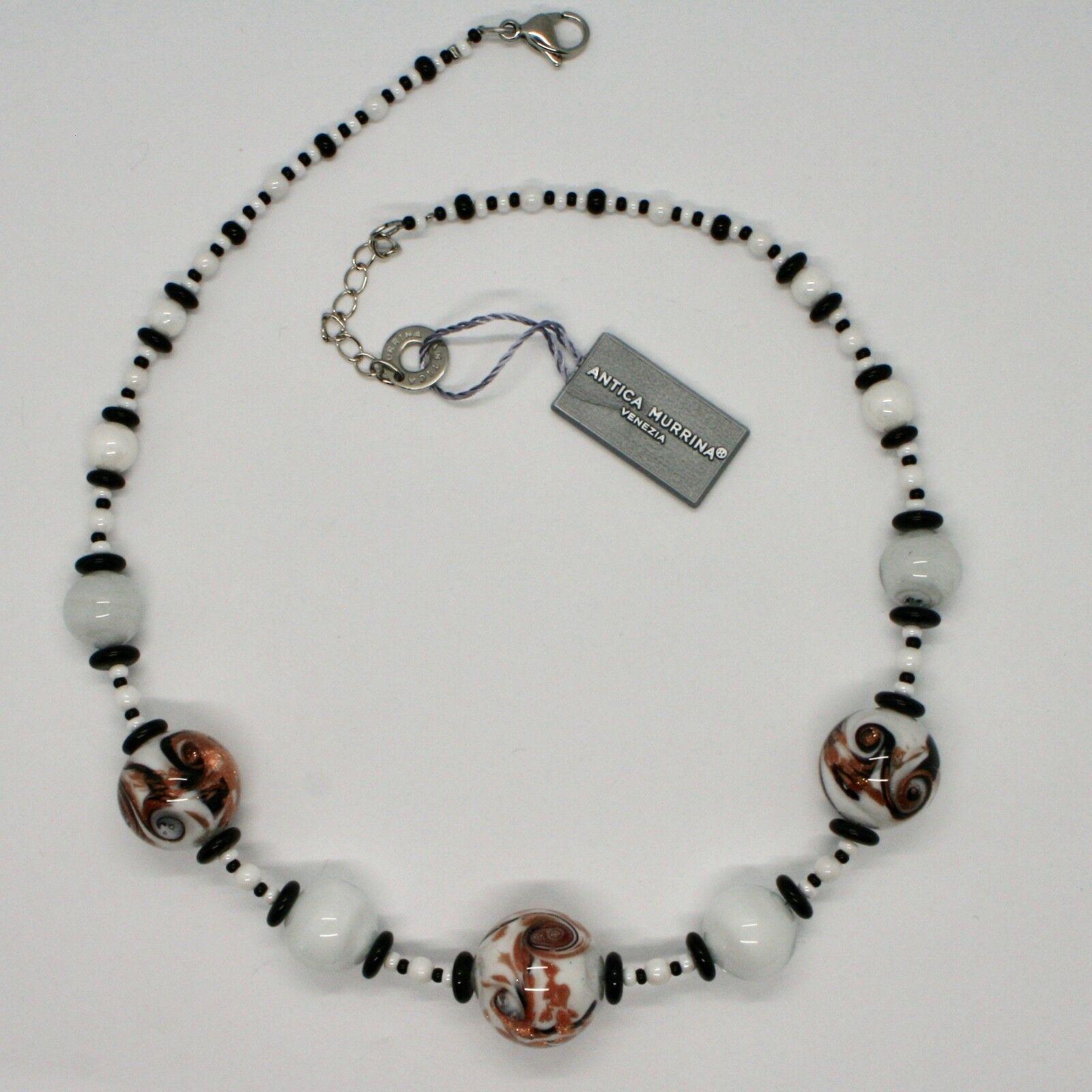 Necklace Antica Murrina Venezia with Murano Glass White Black Orange COA89A15