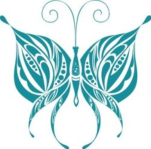 Butterfly Insect Wall Decal Sticker Mural - 18 in. Teal [Kitchen] - €12,26 EUR