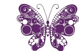 Butterfly Insect Wall Decal Sticker Mural - 18 in. Plum [Kitchen] - $13.95