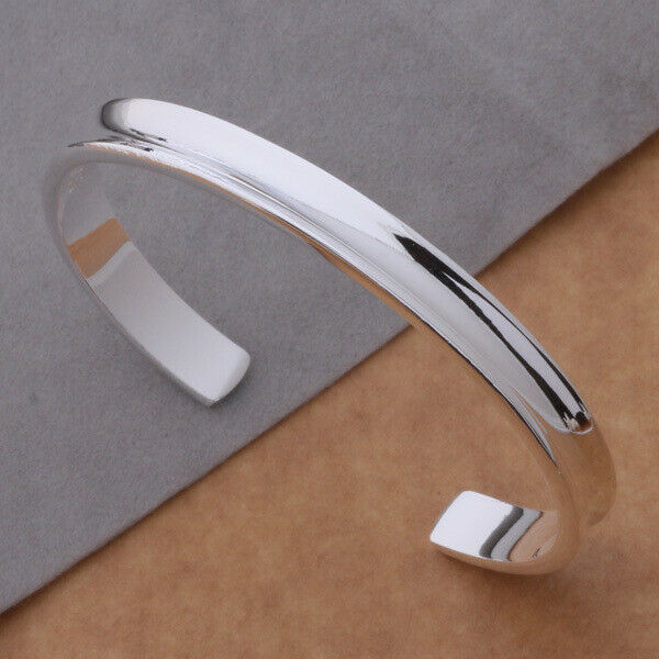 Primary image for Round Skinny Rail Bangle Bracelet 925 Sterling Silver NEW