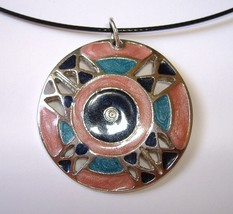 Pink Teal Enamel Silver Metal Pendant Black Neckwire Necklace Magnetic Close image 3