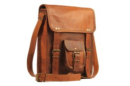 Men's Genuine Vintage Leather Messenger Bag Shoulder Bag half flap - $59.99