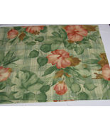 Western Screen Print Remnants-Hibiscus-2.3yd by 56in-Green/Pink/Cream (#35) - $6.99