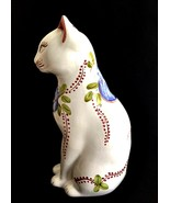 Tall Porcelain Cat Figurine Hand Painted Floral Portugal Numbered 222/56... - $48.50