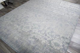 "8x10 (7'9"" x 9'9"") Modern Traditional Nourison Wool Silk Blue Gray Area Rug - $2,039.00"