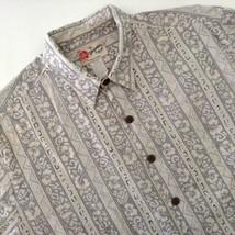 Hilo Hattie's Hawaiian Aloha Shirt Tapa Pattern Vertical Stripe Gray Ivo... - $34.60