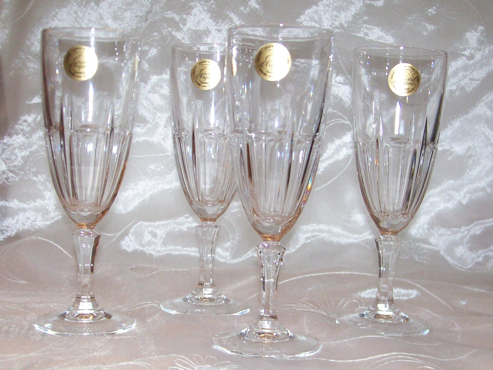 cristal d 39 arques stemware bergamo champagne flutes glass set 4 france new w tag j g durand. Black Bedroom Furniture Sets. Home Design Ideas