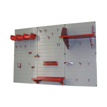 4ft Metal Pegboard Standard Tool Storage Kit - Gray Toolboard & Red Acce... - $150.32