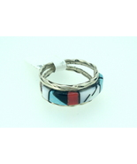 Zuni inlay ring with jet, m.o.p., turquoise, an... - $48.00