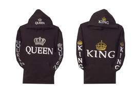 Couple Matching King and Queen Hoodie Color Black Hooded Sweatshirt Price includ - $55.99