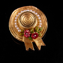 Vintage Ciner Brooch- Vintage hat pin - Gardener straw hat - Broadway mu... - $55.00