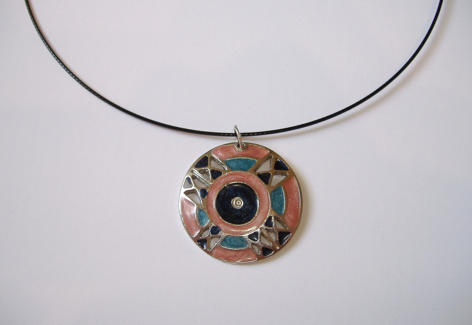 Pink Teal Enamel Silver Metal Pendant Black Neckwire Necklace Magnetic Close