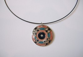 Pink Teal Enamel Silver Metal Pendant Black Neckwire Necklace Magnetic Close - $35.00