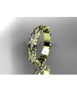 Floral wedding ring,14kt yellow gold diamond wedding ring, engagement ri... - $1,355.00