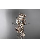 Leaf wedding ring, 14k rose gold leaf and vine wedding ring, engagement ... - $630.00