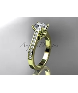 Enagagement ring,14kt yellow gold diamond unique engagement ring,wedding... - $1,305.00