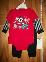 Disney Baby Clothes 6M-9M Mickey Mouse Creeper Outfit Red Newborn Black ... - $14.24