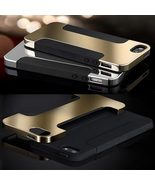 Hybrid Plated PC Soft Silicone Double Layer Cell Case For iPhone 4 4S 5 5S - $12.99