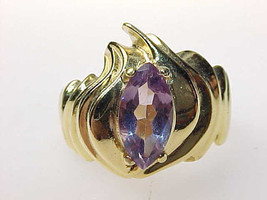 AMETHYST Vintage RING set in GOLD over STERLING Silver - Size 6 - $95.00