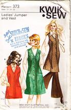 1972 JUMPER or VEST Pattern 373-ks Size 12-14-16 UNCUT - $10.99