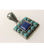 LAPIS and TURQUOISE Vintage PENDANT set in Sterling Silver - $53.50