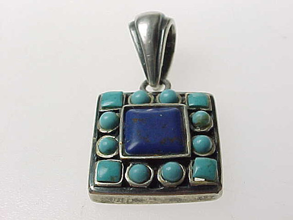 LAPIS and TURQUOISE Vintage PENDANT set in Sterling Silver
