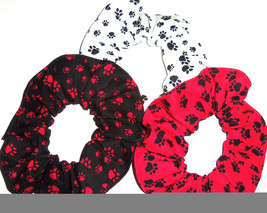 Dog Dogs Paw Prints Clifford Fabric Hair Scrunchie Scrunchies by Sherry - $6.92+