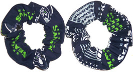 2 Seattle Seahawks Fabric Hair Scrunchies by Sherry NFL Tie Ponytail Holder New - $9.95+