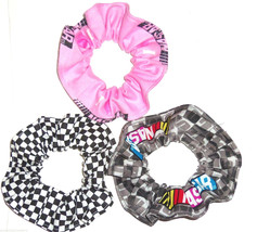 Checkered Flag Racing Fabric Hair Scrunchies by Sherry NASCAR Pink Black... - $6.99+