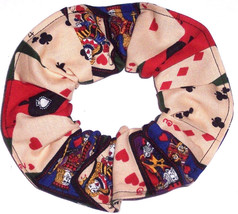 Poker Cards Casino Gambling Fabric Hair Scrunchies by Sherry Tie Ponytail Holder - $6.99