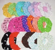2 Polka Dots Dot Fabric Mini Hair Scrunchies by Sherry Ties Ponytail Holders New - $9.95