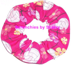 Hair Scrunchie Volley Balls Hot Pink Ponytail Holder  Tie Scrunchies by ... - $6.43+