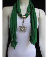 WOMEN GREEN FASHION FABRIC SCARF LONG NECKLACE BIG BEADS METAL FLOWER PE... - £12.81 GBP